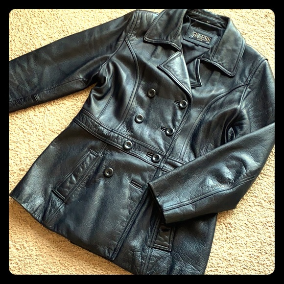 Guess Black Leather Jacket Peacoat Double Breasr